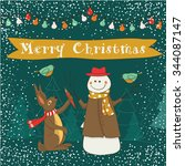 christmas card with snowmen and ...   Shutterstock .eps vector #344087147