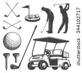 set of vintage golf elements.... | Shutterstock .eps vector #344102717