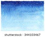 winter watercolor horizontal... | Shutterstock . vector #344103467
