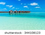 tropical beach in maldives with ... | Shutterstock . vector #344108123