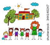 vector image of happy children... | Shutterstock .eps vector #344140247