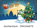 santa claus moving on the... | Shutterstock . vector #344146673