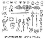 graphic collection with mystic... | Shutterstock .eps vector #344179187