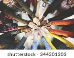 group of diverse hands together ... | Shutterstock . vector #344201303