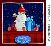 christmas card design with... | Shutterstock .eps vector #344202683