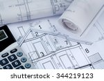 a blueprint of an architect... | Shutterstock . vector #344219123