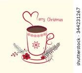 xmas cup card | Shutterstock .eps vector #344231267