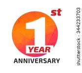 1st anniversary logo template... | Shutterstock .eps vector #344233703
