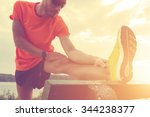 stretching after jogging. | Shutterstock . vector #344238377