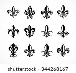 set of various fleur de lis... | Shutterstock .eps vector #344268167