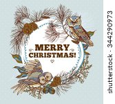 winter christmas vintage round... | Shutterstock .eps vector #344290973