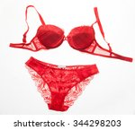 red women underwear with lace... | Shutterstock . vector #344298203