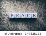 Peace Word Written On White...
