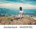 panoramic rear view of woman... | Shutterstock . vector #344339783