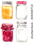 glass jars with jam painted...   Shutterstock . vector #344340713