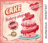 cake happy birthday | Shutterstock .eps vector #344367347