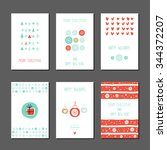 collection of 6 christmas card... | Shutterstock .eps vector #344372207