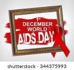Small photo of 1st december world AIDS DAY, World Aids Day concept with red ribbon