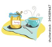 tea cup with honey jar isolated ... | Shutterstock .eps vector #344389667