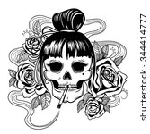 vector black and white tattoo... | Shutterstock .eps vector #344414777
