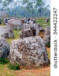 Small photo of Plain of jars in Laos, history of ancient grave or shrines,Once is air raid shelter of Indochina war.
