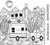 Desert Camper Scene Coloring...