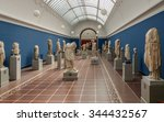 Small photo of COPENHAGEN, DENMARK - 2014 Jun 10: One of the rooms with the antique sculptures collected by Carl Jacobsen (Carlsberg Glyptotek)