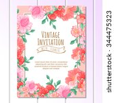 vintage delicate invitation... | Shutterstock .eps vector #344475323