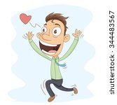 Cartoon Man Running To...