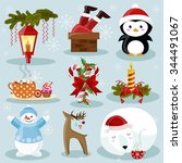 christmas and new year holiday... | Shutterstock .eps vector #344491067