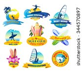 surfing emblems set with... | Shutterstock .eps vector #344570897