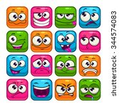 funny colorful square faces set ...