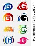 set of alphabet symbols and... | Shutterstock .eps vector #344613587