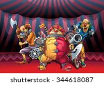 mad clowns killers with... | Shutterstock .eps vector #344618087