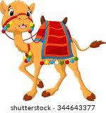 cartoon camel with saddlery | Shutterstock .eps vector #344643377