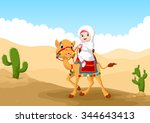 illustration of arab girl... | Shutterstock .eps vector #344643413