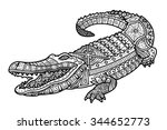 zentangle crocodile coloring... | Shutterstock .eps vector #344652773