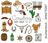 hand drawn cowboy icons set  | Shutterstock .eps vector #344673287