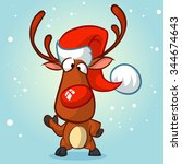 Christmas Reindeer In Santa Ha...