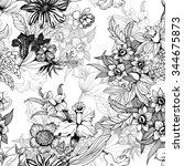 summer garden blooming flowers...   Shutterstock .eps vector #344675873