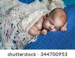beautiful baby girl sleeping.... | Shutterstock . vector #344700953