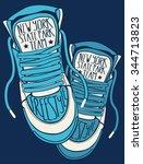 sneakers graphic design for tee | Shutterstock .eps vector #344713823
