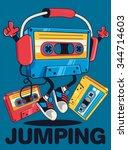 retro cassette character design ... | Shutterstock .eps vector #344714603