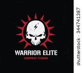 warrior elite logo skull logo... | Shutterstock .eps vector #344741387