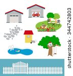 a picture showing the garage ... | Shutterstock .eps vector #344742803