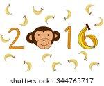 year of monkey 2016 backgrounds.... | Shutterstock .eps vector #344765717