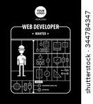 web developer wanted... | Shutterstock .eps vector #344784347