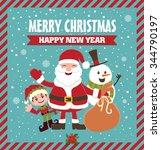 vintage christmas poster design ... | Shutterstock .eps vector #344790197