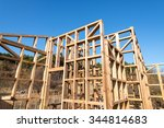 wooden frame of a new house... | Shutterstock . vector #344814683