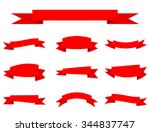 set of red ribbon banners vector | Shutterstock .eps vector #344837747